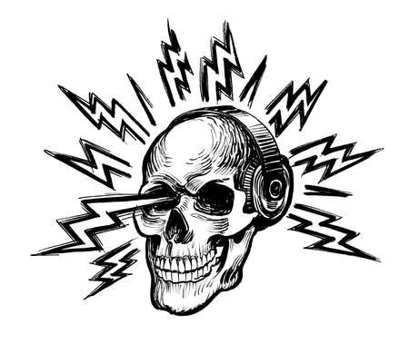 Human skull in headphones and electric lightnings. Ink black and white drawing