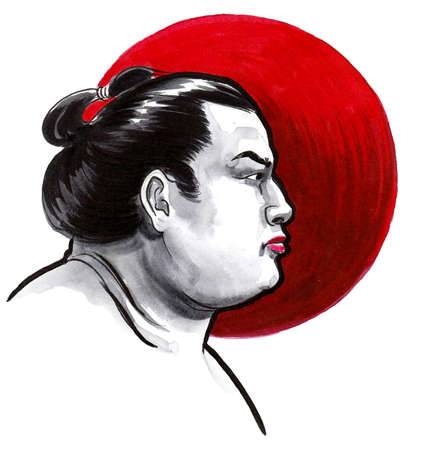 Sumo wrestler and red sun. Ink and watercolor drawing