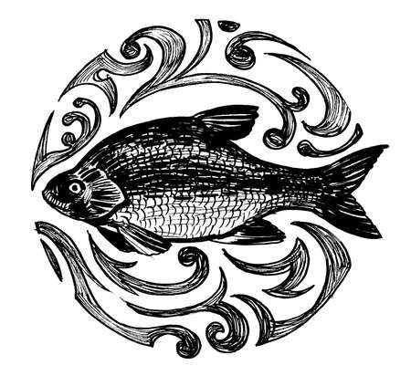 Fish in the pattern. Ink black and white drawing