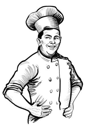 Chef character in uniform. Ink black and white drawing Banco de Imagens