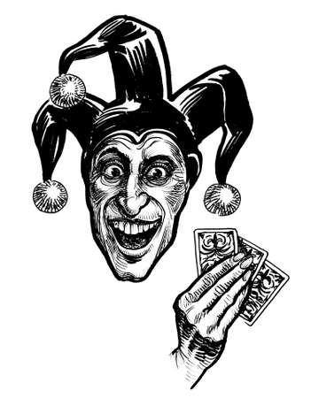 Mad looking jester with playing cards. Ink black and white drawing