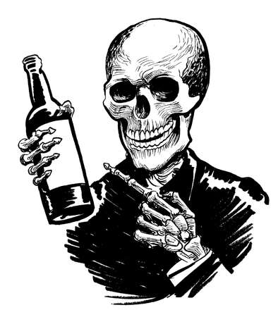 Human skeleton pointing at the bottle of wine. Ink black and white drawing