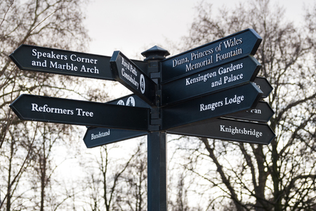 hyde: Crossroads sign in Hyde Park in London, England