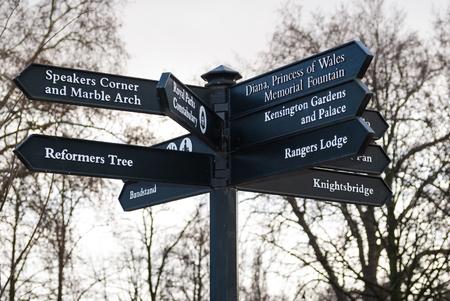 orador: Muestra de la encrucijada en Hyde Park en Londres, Inglaterra Foto de archivo