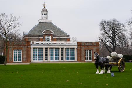 hyde: The Serpenine Gallery and the scupture of horse in Hyde Park, London, England