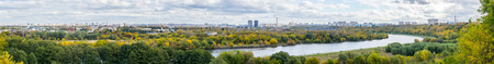 Panoramic view of autumn Moscow from the observation desk in Kolomenskoye