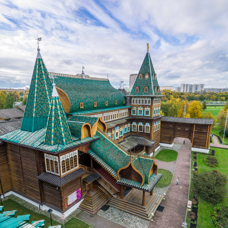 MOSCOW, RUSSIA - OCTOBER 10, 2017: View of Tzars Wooden Palace in Kolomenskoye from the observation deck Editorial