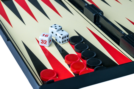 Backgammon Board with Dice, Doubling cube and checkers