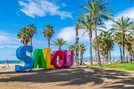 A big colorful Salou sign at the sea coast in Salou city, Tarragona