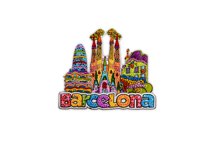 The souvenir magnet from Barcelona, Spain - colorful architectural symbols of the city in Gaudi style. Isolated on white background 版權商用圖片