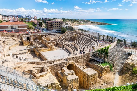 Ancient  Roman Amphitheater in Tarragona, Spain 版權商用圖片 - 122601622