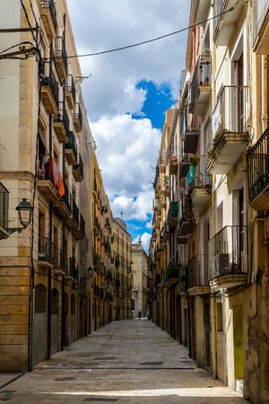 Empty street of old European town Tarragona in Spain. Reklamní fotografie