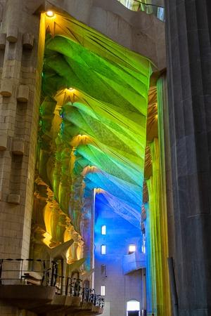 BARCELONA,SPAIN - APRIL 11, 2019: Details of the interior  of La Sagrada Familia cathedral