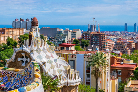 View of Barcelona, Spain from park Guell by Antonio Gaudi