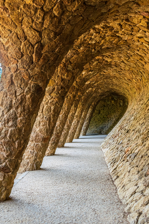 Stone archway in park Guell in Barcelona, Spain