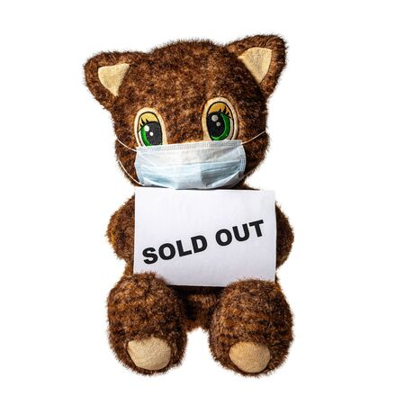 Toy cat with medical mask face and SOLD OUT text isolated on white background