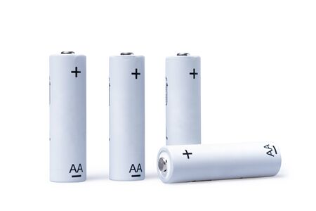 Set of 4 AA rechargeable batteries isolated on white background