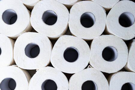 Rolls of white toilrt paper