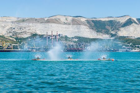 View of fountains in Tsemes bay of Novorossiysk port, Russia Фото со стока