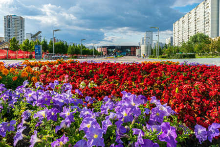 Moscow, Russia - August 21, 2020: A flowerbed in front of the main entrance of Alma-Atinskaya metro station 新聞圖片