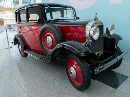 Domodedovo, Russia -June 27, 2020: Opel Model 1,2L at the exhibition of retro cars in Domodedovo airport 新聞圖片