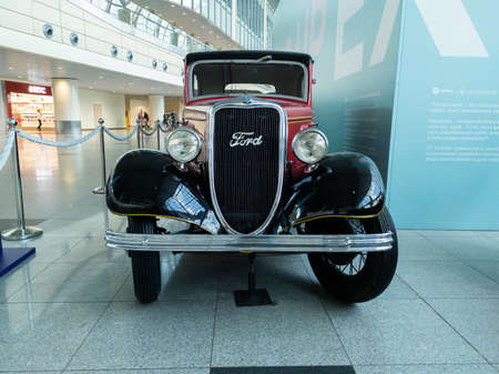 Domodedovo, Russia -June 27, 2020: Ford Y at the exhibition of retro cars in Domodedovo airport 新聞圖片