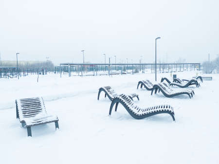 Park in Brateevo covered by snow in Moscow, Russia