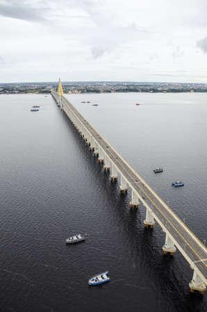 aereal: Manaus-Iranduba bridge over Negro river, in the Amazon.