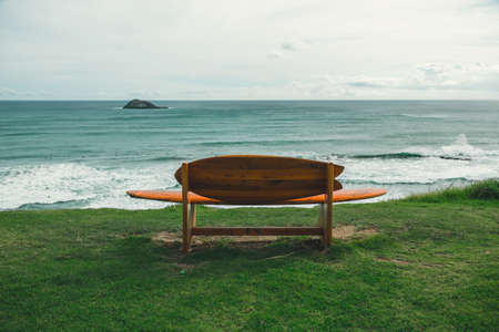 a surfboard bench on green grass in front of a blue ocean stock