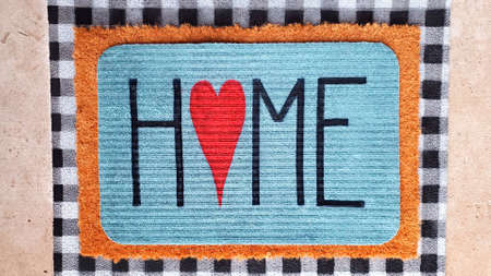 Mat with the inscription house. Doormat in vintage style with inscription. Instead of the letter ,, o ,, heart.