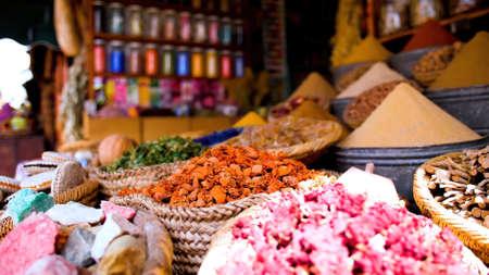 Multi-colored spices in the market.