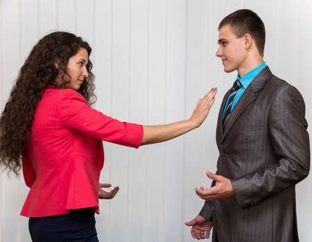 Stop sexual harassment A conflict between male and female corporate workers