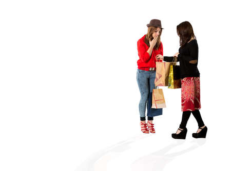 moll: Young females at shopping moll. Two young ladies discuss brand new purchases