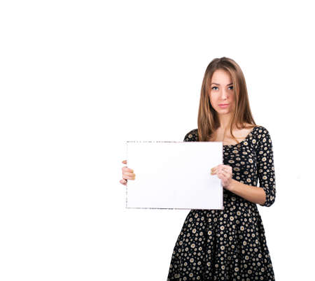 workbook: Young lady with blank workbook Young female keeps big blank opened workbook. On white background
