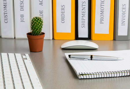 articulos oficina: espacio de trabajo de oficina en el escritorio gris con vista cactus y carpetas ángulo en escritorio de madera gris con las carpetas de equipos de oficina bien organizados, el bloc de notas de color, teclado, ratón del ordenador y cactus
