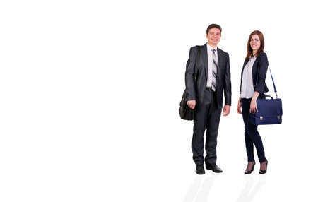 dresscode: Nice young couple Young male and female students with bags officially dressed on white background
