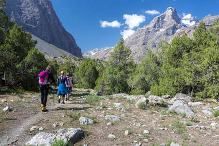 Grand groupe de personnes Vêtements de sport Partir en Green Grass Meadow Up vers Peaks Forêt et Montagne Lumière du soleil Ciel bleu majestueux sommets fond Banque d'images