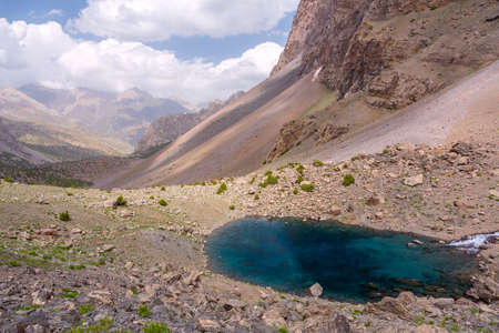 valley view: Azure Mountain Lake and Rock Landscape Valley View in Sunny Day Stock Photo