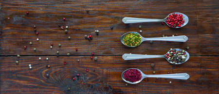 natural selection: Selection of Aromatic Seasonings on Rough Dark Natural Wooden Board Table