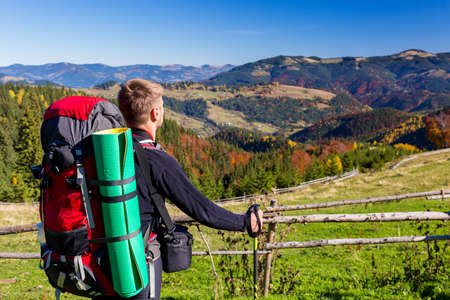walking pole: Hiker with Backpack and Walking Pole Standing on Grassy Meadow Observing Mountains Scenery of Autumnal Colorful Forest Stock Photo