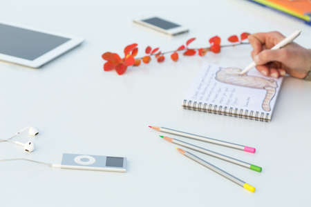 walkman: Working Place of Artist creating sketch of Illustration