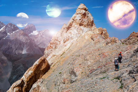 Alien Planet Landscape and two mountain Climbers
