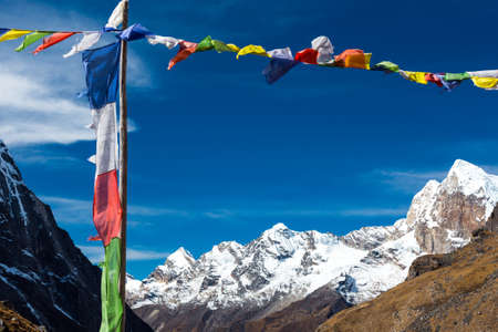 Nepalese Prayer Flags in Himalaya Mountains