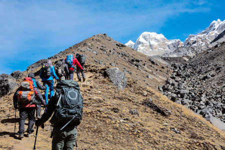 Mountaineering Expedition moving toward high Altitude Mountain