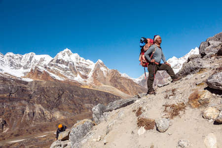 sherpa: Team of Mountain Climbers led by Nepalese Sherpa Guide