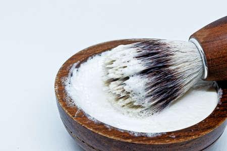 Shaving brush and wooden cream bowl Reklamní fotografie