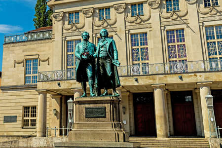 Goethe and Schiller statue in Weimar in front of the National Theater