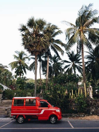 Red car van taxi in Thailand against the backdrop of palm trees. Vertical