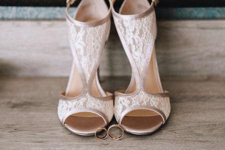 e697da7cb96 Beautiful designer beige wedding shoes with lace