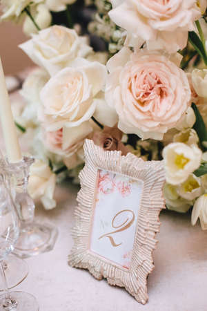 Flower Arrangement Of White Roses And A Beautiful Frame With